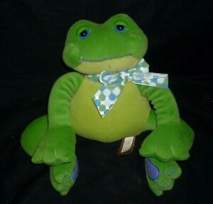 VINTAGE FIRST MAIN GREEN FROG THAD POLZ RATTLE MAKES NOISE STUFFED PLUSH TOY
