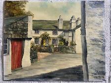 Old Oil Painting Ann tysons Cottage Hawkshead Penrith Wm Wordsworth Lakeland Sig