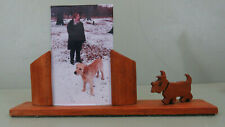 Art Deco Rare Treen  Standing Double Photo Frame with Scottie Dog Silhouette