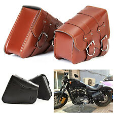 2Pcs Motorcycle Saddle Bags Side L+R Storage For Harley Sportster XL883 XL1200