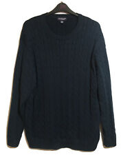 ROUNDTREE Men's Gents XXL Navy Blue Cable Knit Cotton Jumper Sweater Pullover