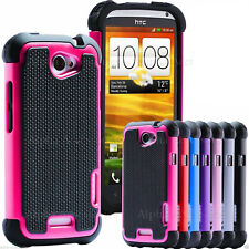 For HTC ONE X Cover Shock Proof Dual Layer Silicone Hard Builder Defender Case