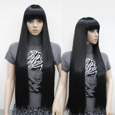 UKJF48   long 100cm party cosplay Fashion hair Wig  black wigs bang for women