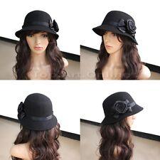 Chapeau Fleur Femme Laine Style Cloche Downton Noir wh2n