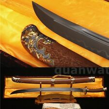 SHARP DAMASCUS FOLDED STEEL CLAY TEMPERED BLADE CHINESE SWORD QING DAO PHOENIX清刀