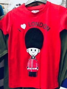 Childrens I Love London T-shirt KIDS Years Royal London Guard Fur Hat red gift