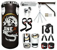 3 Ft Martial Arts Boxing Punching Bag Set Gloves Wraps Accessories Gym