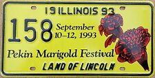 "Illinois 1993 ""Pekin Marigold Festival"" USA Number License Plate American 158"