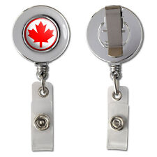 Canada Maple Leaf Flag Retractable Reel Chrome Badge ID Card Holder