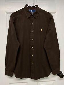 Ralph Lauren Polo Men's L/S Classic Fit Twill Button-Down Shirt: M, Brown, Pony