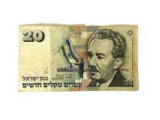 Israel 20 New Shekel Banknote 1993 Old Rare Vintage Money Sheqalim Moshe Sharett