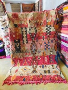Moroccan Boujaad rug Red Wool Handmade  Old Berber carpet (8Ft x 5 Ft)