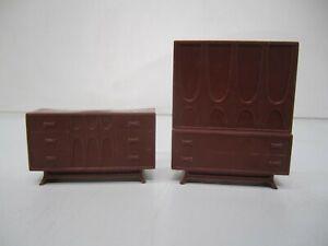 Vtg Brown Plastic MCM Broyhill Brasilia Credenza Highboy Dresser Mini Furniture