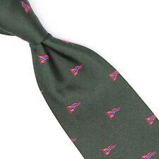 Ben Silver Mens Silk Necktie Hunter Green Red Blue Yachting Flag Print Tie