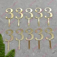10 x Number 3 Birthday Acrylic Gold Mirror Cupcake Topper