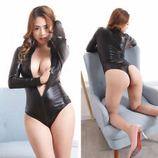 Women Wet Look Leather Bodysuit Open Crotch Thong Leotard Catsuit Zip Clubwear