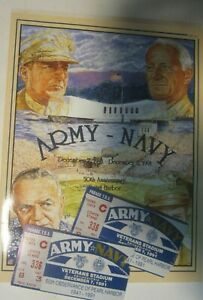 1991 ARMY NAVY GAME DAY FOOTBALL PROGRAM 50TH  ann. OF PEARL HARBOR, w/game tix