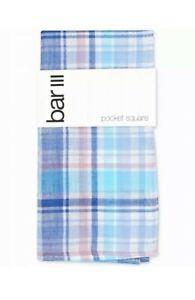 Bar III Men's Pocket Square Blue Owens Plaid Print Patterned Accessory #318