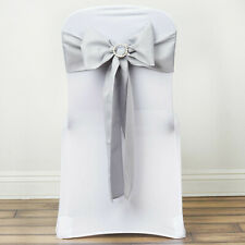 10 Silver Polyester Chair Sashes Ties Bows Wedding Party Ceremony Decorations