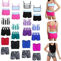 Girls Kids Dance Leotard Gym Sports Two Pieces Outfit Crop Top+Shorts Activewear