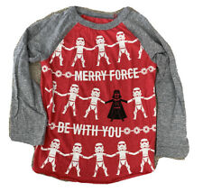 EUC Boys Star Wars Merry Force Be With You Long Sleeve Christmas Shirt 5t