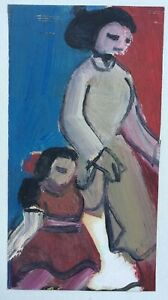 With mother   Vietnam Orig oil  paper painting artist Do VH