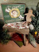 VINTAGE VICTORIAN PRIMITIVE STYLE CHRISTMAS MR. CLAUS CANDY CANE SANTA SIGN