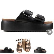 Clarks Black Flatform Botanic Slide Sandals Size 6