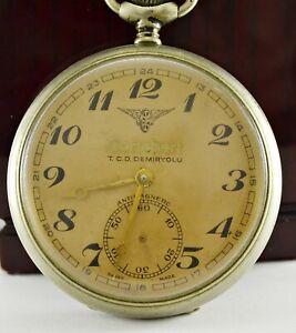 Vintage Cortebert Hand Winding Pocket Watch Swiss Made Turkish TCDD Railroad