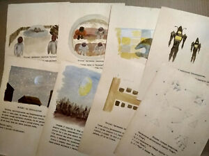 UFOs Alien Observations - 8 USSR Documentary Drawings with description - 1980s
