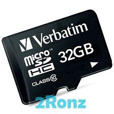 Verbatim 32GB 32G Micro SD SDHC Flash Card Cellular Phone Tablet Memory Class 10