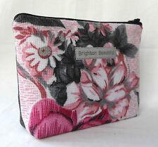 70s Vintage Roses Fabric Zip Purse Make Up Bag Pink & Grey Floral Big Floral.