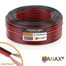 100m (10 Ringe je 10m) Zwillingslitze 2x 0,75mm² Kabel rot/schwarz 2-adrig