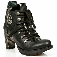 NEWROCK Shoes Ladies Leather New Rock TR010-S1 Ankle Lace Heel Gothic Punk Boots