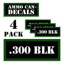 """300 BLK Ammo Can 4x Labels Ammunition Case 3""""x1.15"""" stickers decals 4 pack"""