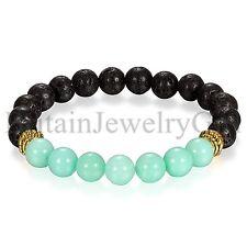 Fashion 8MM Immitation Lava Rock Elastic Stretch Beaded Bracelet Yoga Jewelry