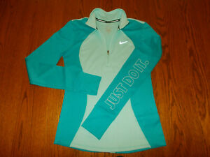 NIKE JUST DO IT 1/2 ZIP LONG SLEEVE BLUE RUNNING TOP WOMENS SMALL EXCELLENT COND