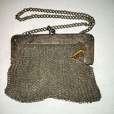 Antique Victorian Chain Mail German Silver Mesh Purse Wrist Bag Coin Purse Old