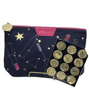 Estee Lauder Cometic Bag Constellation Zodiac Collection Stickers Blue Hot Pink