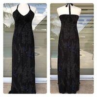 Express Women's Sz XS Maxi Black Floral Pint Dress Halter Tie Strap