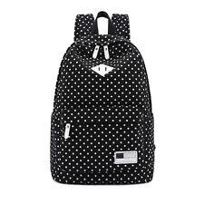 2015 Canvas Polka Dot Backpack Girls School Bags Shoulder Bag Travel Rucksacks #