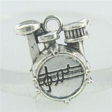 15701 25PCS Alloy Antique Silver Vintage Drum Music Pendant Charm Jewelry