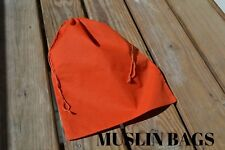 2x3 inch Orange Muslin Drawstring Bags,Eco-Friendly , Qty:10 /25 /50 /100/ 200