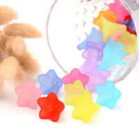 50pc Random Transparent Acrylic Flower Beads Big Textured Frosted Bead Caps 33mm