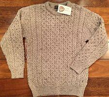 INIS CRAFTS Irish Aran Merino Wool Mens Fisherman Crew Neck Sweater Beige M NWT