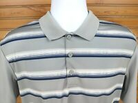 Adidas Climacool Golf Polo Short Sleeve Shirt Mens Sz L Gray Blue White Accents