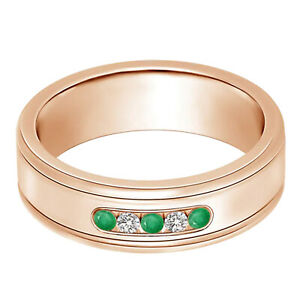 5 MM Round Emerald 9K Rose Gold Five Stone Wedding Band Ring