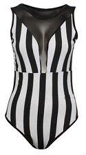 Ladies Mesh Insert Vertical Stripe Bodysuit Women black & White Leotard Top