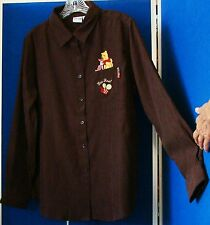 EUC Cute DISNEY SHIRT w. Embroidered POOH & PIGLET Bee REAL Brown Sz L