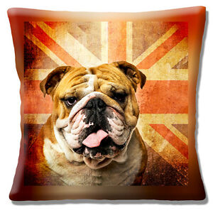 British Bulldog Cushion Cover 16x16 inch 40cm Retro Old Mottled Union Jack Flag